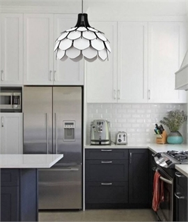 White & Black Wood Contemporary Pendant
