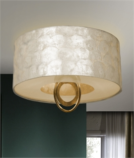 Mother of Pearl Flush Drum Light with Gold Leaf