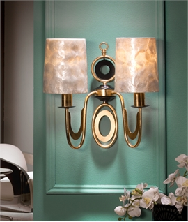 Mother of Pearl Double Arm Gold Leaf Wall Light