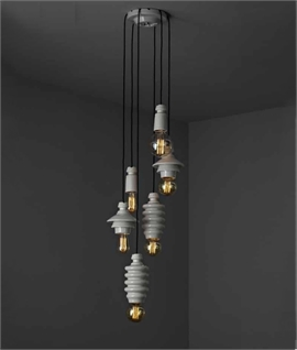 Industrial Styled Ceramic 6 Light Pendant