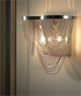 Chain & Scoop Wall Light - Nickel or Gold