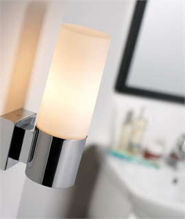 Chrome & Opal Glass Tubular Bathroom Wall Light