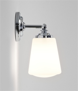 Classic Bathroom Wall Light in Chrome with Opal Drop Glass