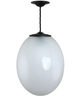 Egg Shaped Hand Blown Glass Pendant