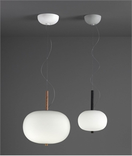 Globe Pendant Opal Glass & Wood Detail - Ilargi