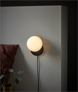 Opal Glass Globe Wall Light with Black Flex