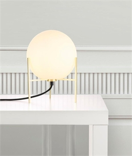 Globe Opal Glass & Brass Table Lamp