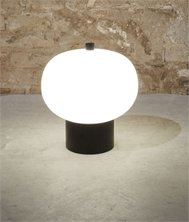 Opal Glass LED Table Light with Wood Detail - Ilargi