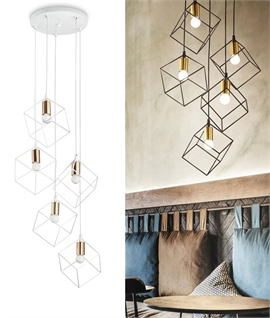 5 Light Pendant with Open Box Shades