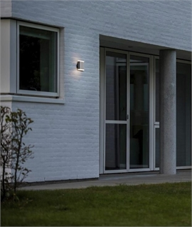 External Black LED Wall Light with Opal Glass