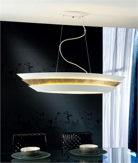 Wide Lacquered Metal Drop Pendant
