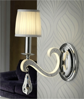 Wall Lights with LED Illuminated Bracket and Pleated Shade