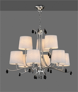 Modern Clean Line Chandelier In Chrome With Off White Fabric Shades