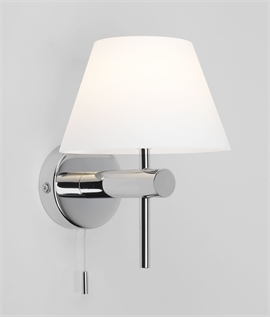 Bathroom Safe Wall Light with Glass Shade & Pullcord