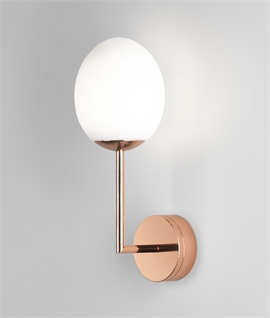 LED Wall Light with Egg Shaped Glass - IP44 Rated