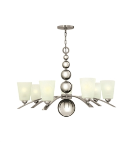 Polished Nickel Curved Arm Chandelier