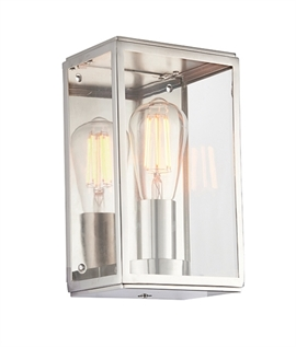 Clear Glass Box Wall Light - Polished Nickel