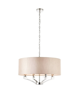 Polished Nickel 4 Light Pendant & Organza Shade