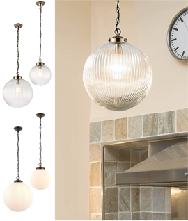 Reeded Glass Globe Pendant - Clear or Opal