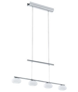 Long 4 LED Light Rise and Fall Bar Pendant - Opal Glass