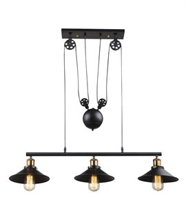 Rise fall lights lighting styles rise fall triple pendant black metal finish mozeypictures Image collections