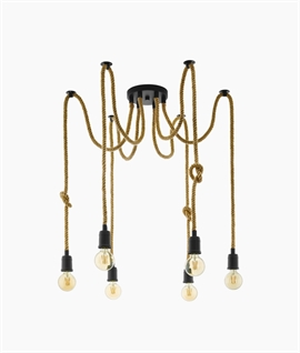 Bare Bulb Multi Rope Flex Chandelier - 6 Arm