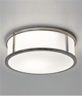 Round Opal Glass & Chrome Flush Light IP44
