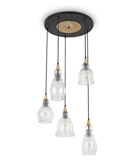 Clear Glass & Wood Detail 5 Light Multiple Pendant