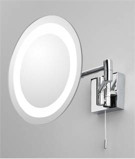 Round IP44 Vanity Mirror with Bi-Fold Arm