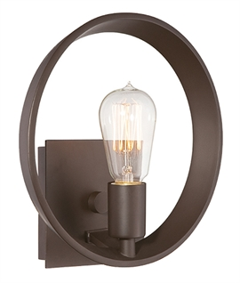 Contemporary Round Bronze Wall Light