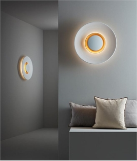 Large Wall Light - Backlit With LEDs in White With Gold Detail