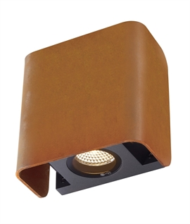 Stylish Exterior Up and Down Wall Light in Black or Rust