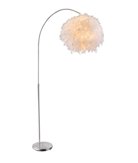 Fluffy Feather Shaded Long Reach Floor Lamp
