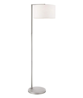 Matt Nickel Contemporary Floor Lamp & Fabric Shade