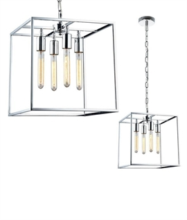 Hanging Box Lantern in Chrome
