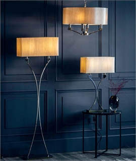 Polished Nickel Floor Lamp with Cream Shade