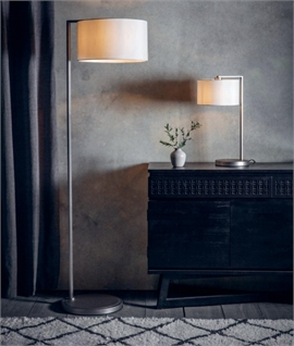 Matt Nickel Contemporary Table Lamp & Fabric Shade