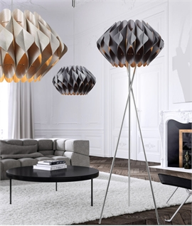 Scrolled & Wrapped Shade Tripod Floor Lamp