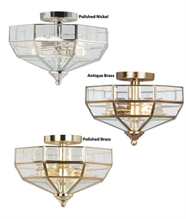 Octagon Design Semi-Flush Light With Bevelled Glass