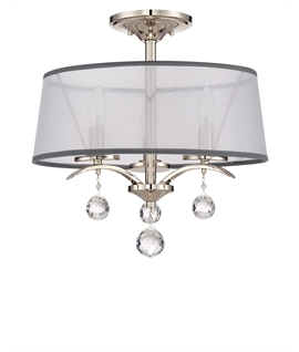 Silver Semi-Flush Light - Crystals & Organza Shade