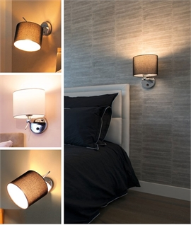 Adjustable Chrome Bedside Wall Light - Switched