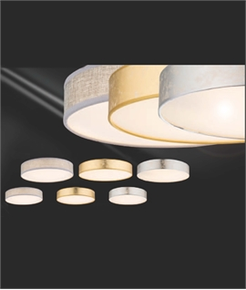 LED Shallow Drum Ceiling Shades - Textile & Acrylic