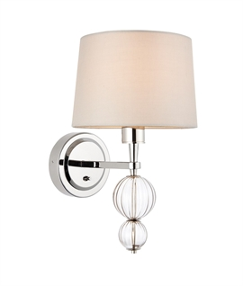 Silk Shade Wall Light with Ball Detail