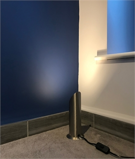 Segmented Cylinder Floor Uplight in Satin Silver