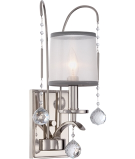 Silver Wall Light - Crystals & Organza Shades