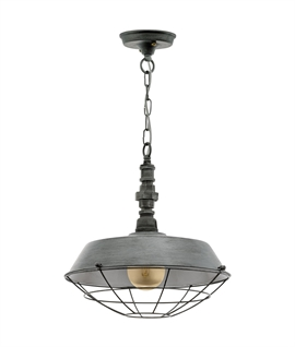 Industrial Chain Pendant with Caged Shade