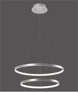 Double Ring LED Pendant - Black, Silver or Gold