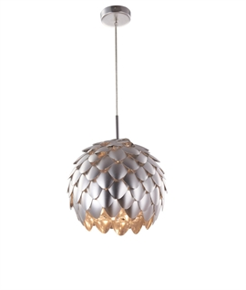 Metal Leaf Globe Artichoke Pendant Light - Matt Silver Finish