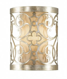 Silver Leaf Patina Scrolled Wall Light