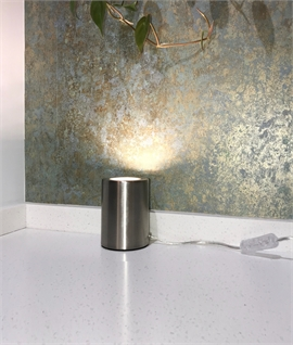Simple Free-Standing Floor Uplight in Satin Silver